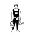 repair man holding bucket and roller paint vector image vector image