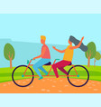 romantic day man and woman on bicycle vector image vector image