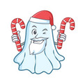santa with candy cute ghost character cartoon vector image vector image