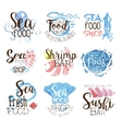Seafood Menu Promo Signs Colorful Set vector image vector image
