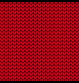 seamless knit pattern red knitted vector image