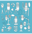 set different microphones isolated on color vector image