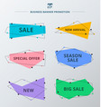 set sale promotion and discount offer ribbons vector image