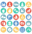 toys icons set on color circles white background vector image vector image