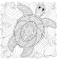 turtle in ocean waves vector image vector image