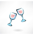 two wineglasses grunge icon vector image vector image