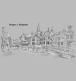 view on rozenhoedkaai water canal in bruges vector image vector image