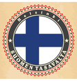 Vintage label cards of Finland flag vector image vector image