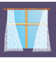 Window with lace curtain vector image