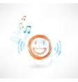 Music smile grunge icon vector image