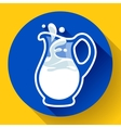 Glass milk jug with splash fresh vector image