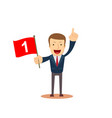 happy businessman holding number one flag