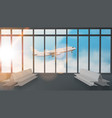 airport terminal lounge with airplane on sky vector image
