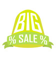 big sale green cylinder over ribbon on a white vector image