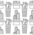 black and white seamless pattern of cacti and vector image vector image