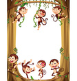 Border design with monkeys climbing the tree vector image vector image
