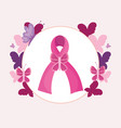 breast cancer pink ribbon butterflies prevention vector image vector image