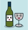 cartoon bottle wineglass with facial expression vector image vector image