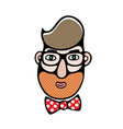 cartoon of man head hipster time vector image