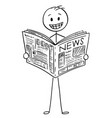 cartoon of smiling businessman reading good news vector image