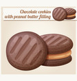 chocolate cookie with peanut butter filling vector image vector image