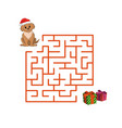 christmas childrens game puppy in the maze vector image vector image
