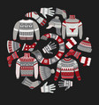 christmas knitted clothes knitwear with ornaments vector image vector image
