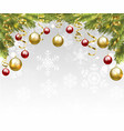 christmas tree branches with baubles vector image vector image