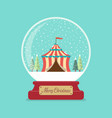 circus tent in merry christmas glass ball vector image vector image