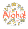 colorful icons in summer islands theme - aloha vector image