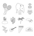 country mexico outline icons in set collection for vector image