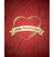 Crumpled vintage Valentines Day card vector image