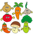 cute cartoon vegetable collection vector image vector image