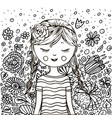 cute little girl pattern doodle coloring book vector image vector image