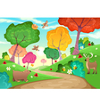 family animals in wood vector image vector image