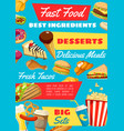 fast food with takeaway meal and drink vector image vector image