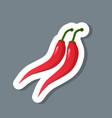 fresh red chili pepper sticker tasty vegetable vector image