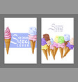 ice cream sweet covers vector image vector image