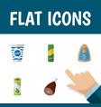 icon flat eating set of pasta cream apple juice vector image
