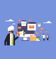 indian businessman holding megaphone email vector image vector image