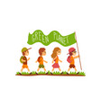 kids with backpacks carrying flag with the vector image vector image