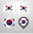 korea south flag design set vector image