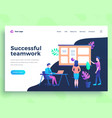 landing page template success teamwork concept vector image vector image