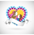 Loving Couple in Heart vector image
