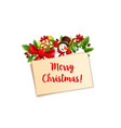 merry christmas snowman decoration icon vector image vector image