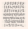 Musical decorative notes alphabet font hand mark vector image