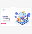 online training isometric landing page vector image vector image