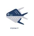 permit sea fish geometric flat style design vector image vector image