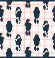 poodle dog silhouette seamless checkered vector image vector image