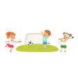 pretty little boy and girl playing sport game vector image vector image